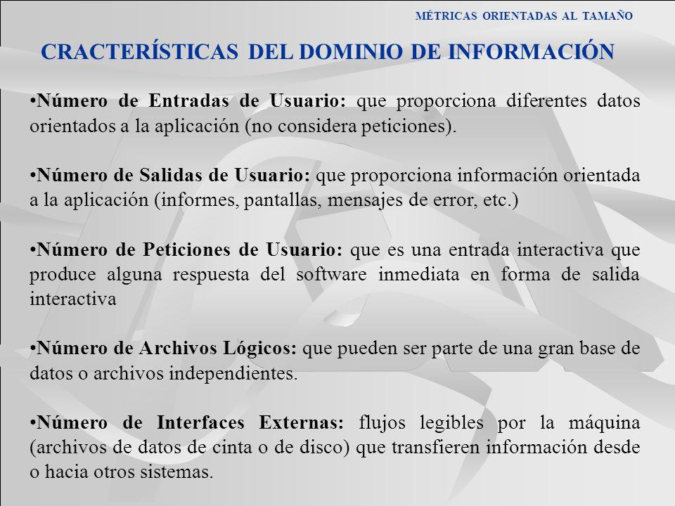 MÉTRICAS ORIENTADAS AL TAMAÑO CRACTERÍSTICAS DEL DOMINIO DE INFORMACIÓN Número de Entradas de Usuario: que proporciona diferentes datos orientados a l