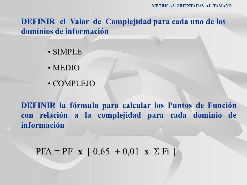 MÉTRICAS ORIENTADAS AL TAMAÑO DEFINIR el Valor de Complejidad para cada uno de los dominios de información SIMPLE MEDIO COMPLEJO DEFINIR la fórmula pa
