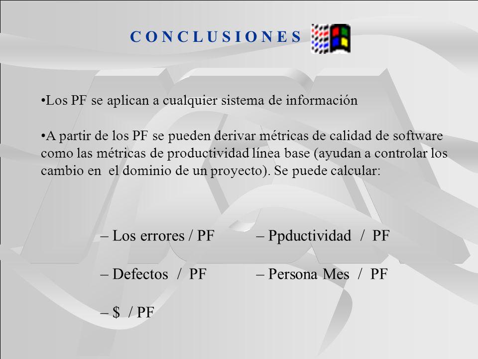C O N C L U S I O N E S Los PF se aplican a cualquier sistema de información A partir de los PF se pueden derivar métricas de calidad de software como