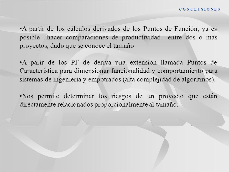 C O N C L U S I O N E S A partir de los cálculos derivados de los Puntos de Función, ya es posible hacer comparaciones de productividad entre dos o má