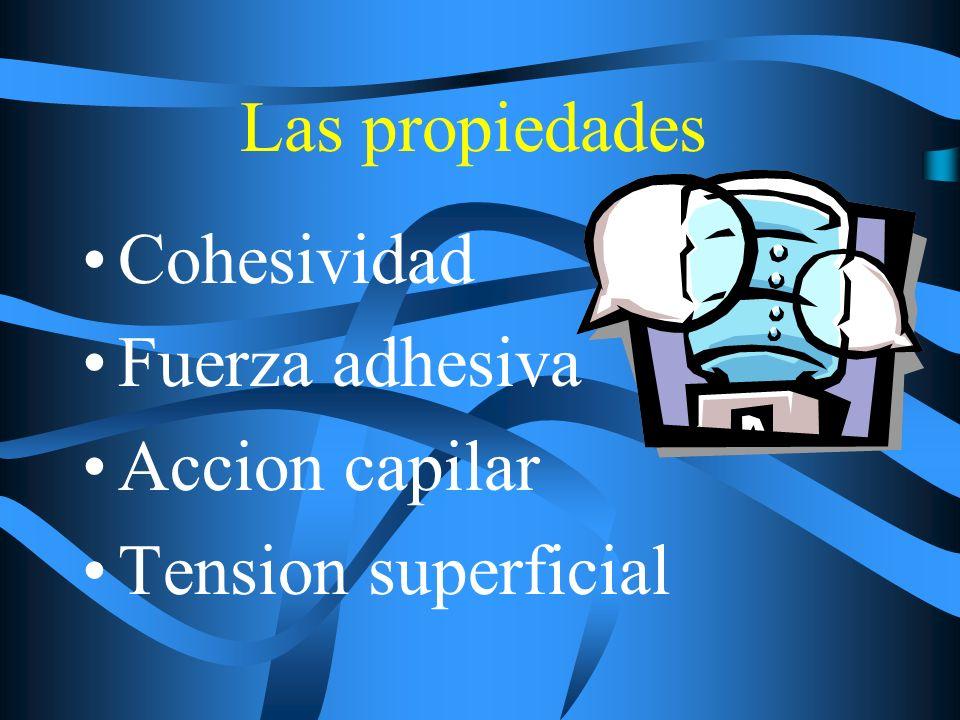 Las propiedades Cohesividad Fuerza adhesiva Accion capilar Tension superficial