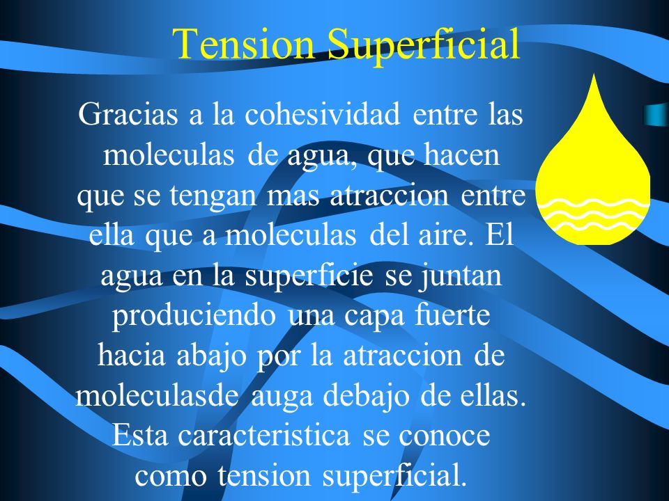 Tension Superficial Gracias a la cohesividad entre las moleculas de agua, que hacen que se tengan mas atraccion entre ella que a moleculas del aire. E