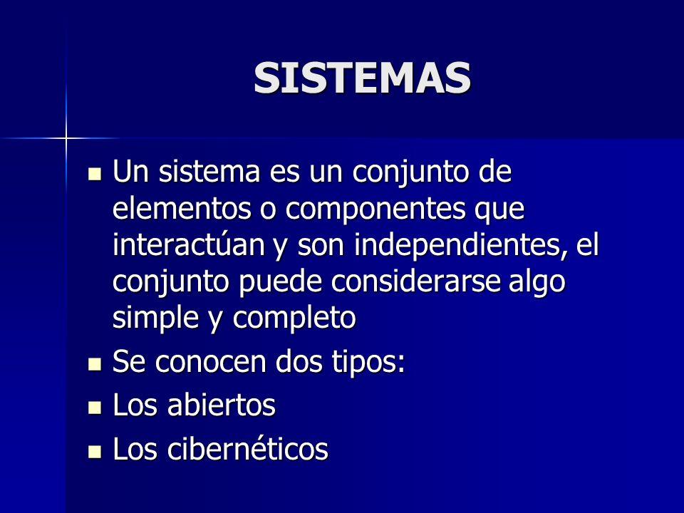 SISTEMAS Un sistema es un conjunto de elementos o componentes que interactúan y son independientes, el conjunto puede considerarse algo simple y compl