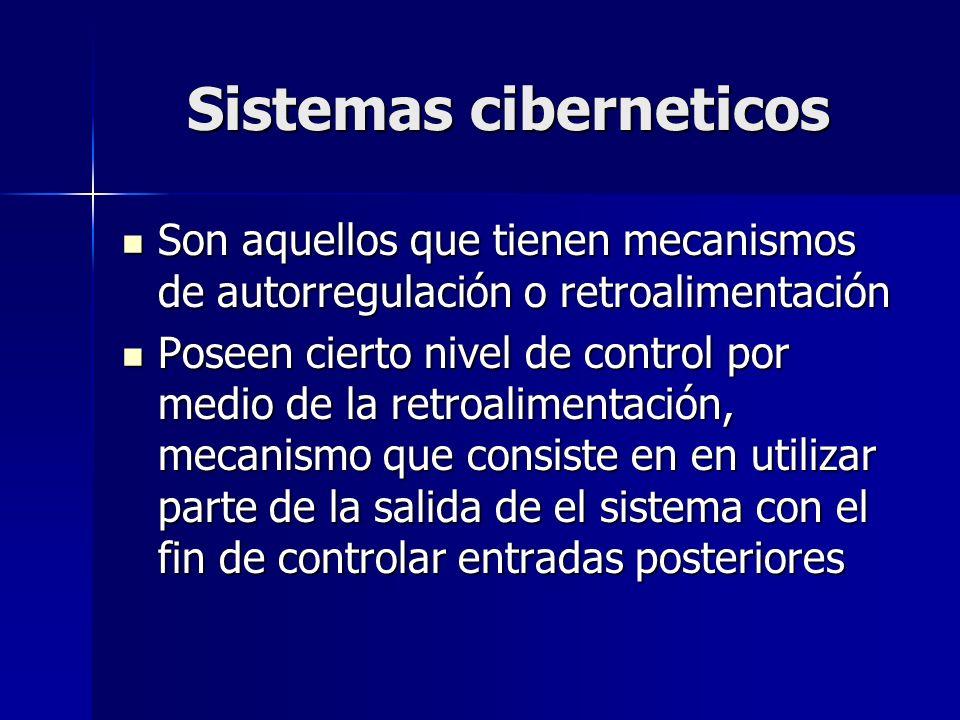 Sistemas ciberneticos Son aquellos que tienen mecanismos de autorregulación o retroalimentación Son aquellos que tienen mecanismos de autorregulación