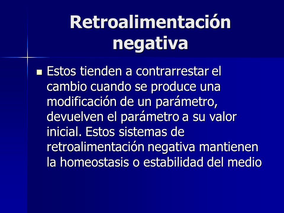 Retroalimentación negativa Estos tienden a contrarrestar el cambio cuando se produce una modificación de un parámetro, devuelven el parámetro a su val