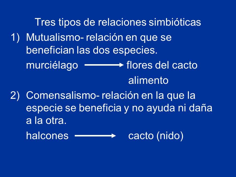 Tres tipos de relaciones simbióticas 1)Mutualismo- relación en que se benefician las dos especies.