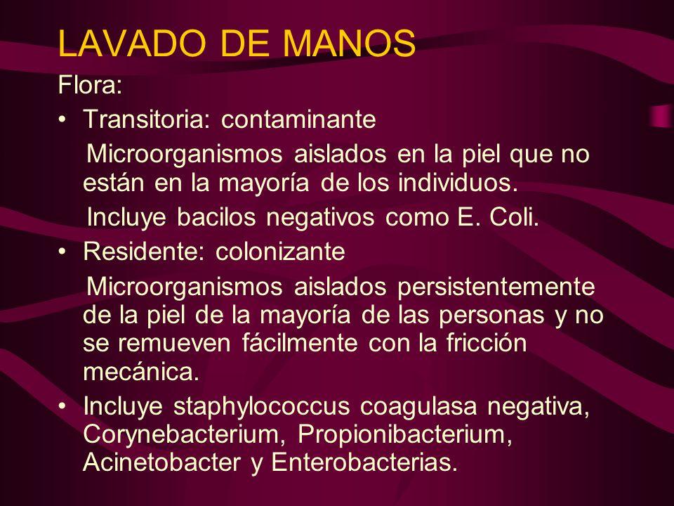 LAVADO DE MANOS Flora: Transitoria: contaminante Microorganismos aislados en la piel que no están en la mayoría de los individuos. Incluye bacilos neg