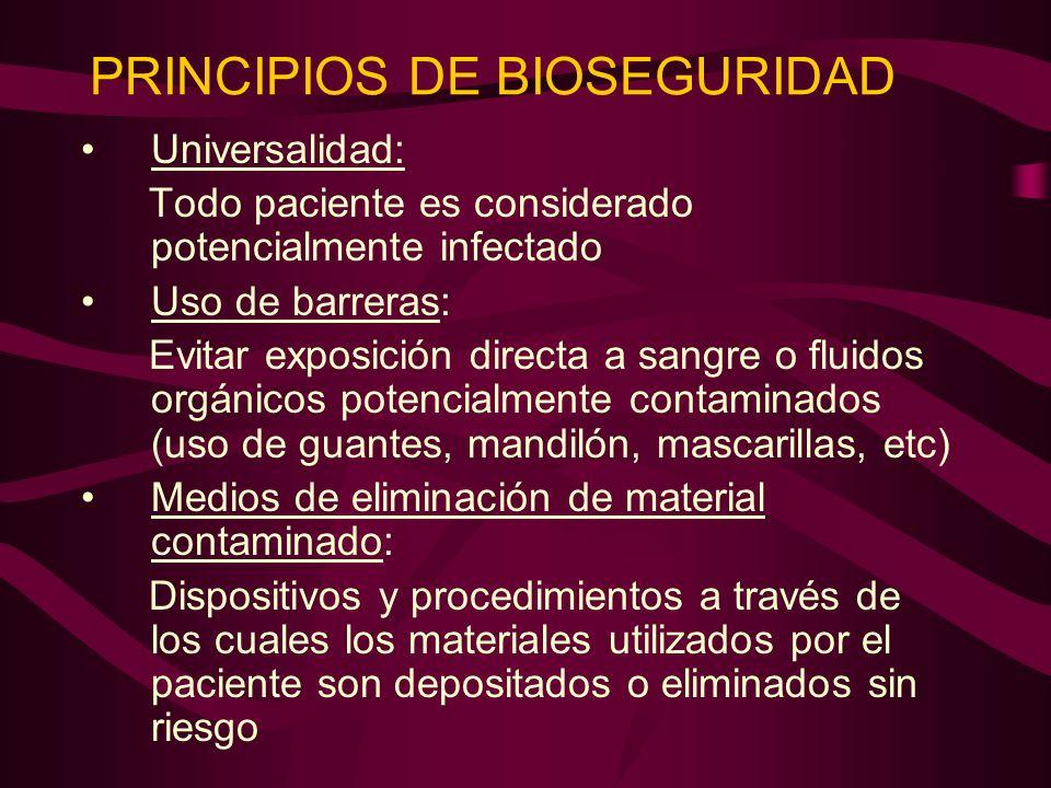 PRINCIPIOS DE BIOSEGURIDAD Universalidad: Todo paciente es considerado potencialmente infectado Uso de barreras: Evitar exposición directa a sangre o
