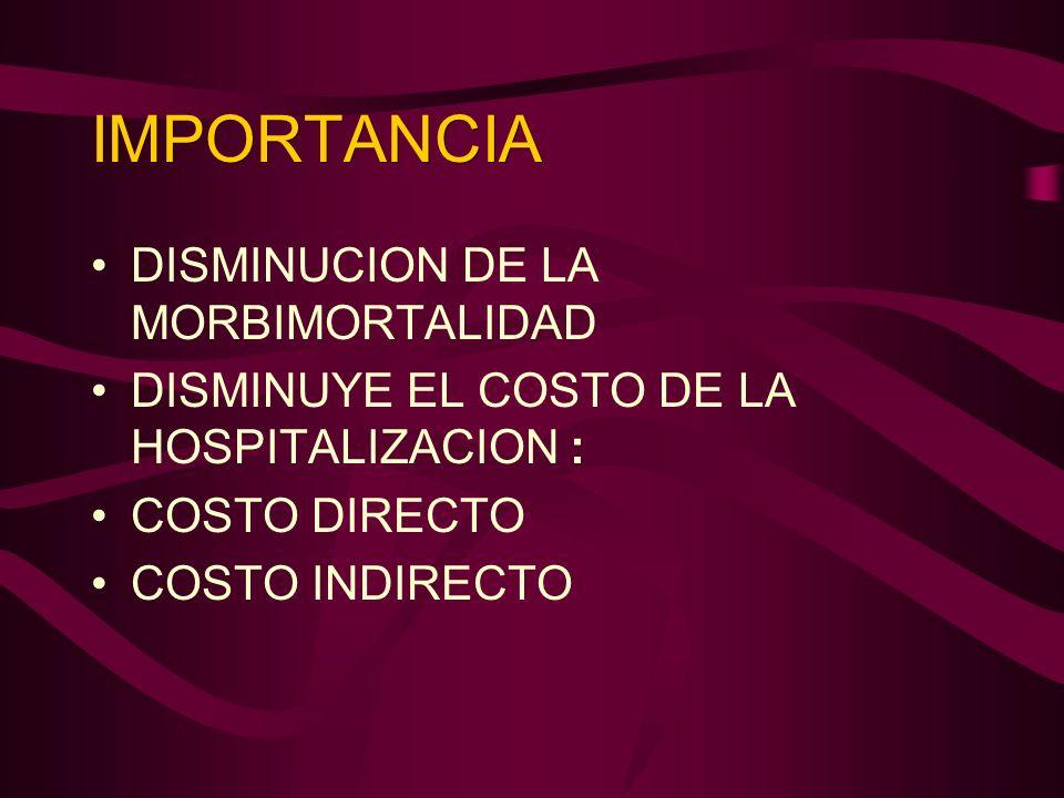 IMPORTANCIA DISMINUCION DE LA MORBIMORTALIDAD DISMINUYE EL COSTO DE LA HOSPITALIZACION : COSTO DIRECTO COSTO INDIRECTO