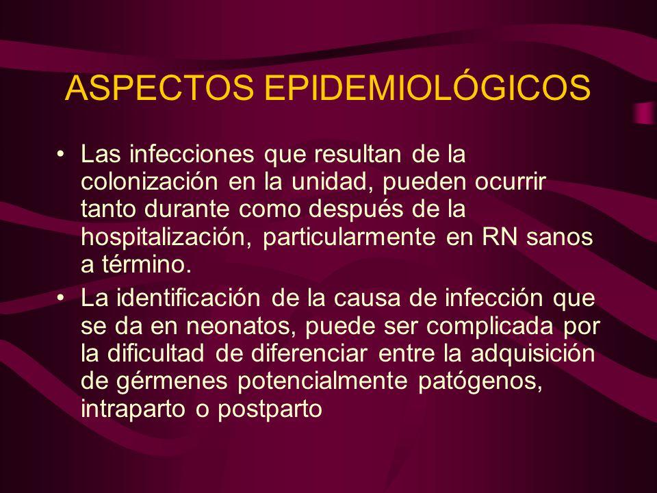 ASPECTOS EPIDEMIOLÓGICOS Las infecciones que resultan de la colonización en la unidad, pueden ocurrir tanto durante como después de la hospitalización