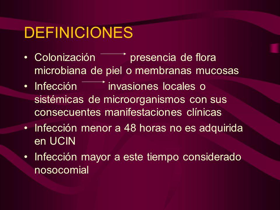 DEFINICIONES Colonización presencia de flora microbiana de piel o membranas mucosas Infección invasiones locales o sistémicas de microorganismos con s