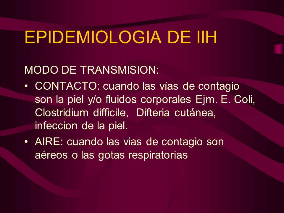 EPIDEMIOLOGIA DE IIH MODO DE TRANSMISION: CONTACTO: cuando las vías de contagio son la piel y/o fluidos corporales Ejm. E. Coli, Clostridium difficile