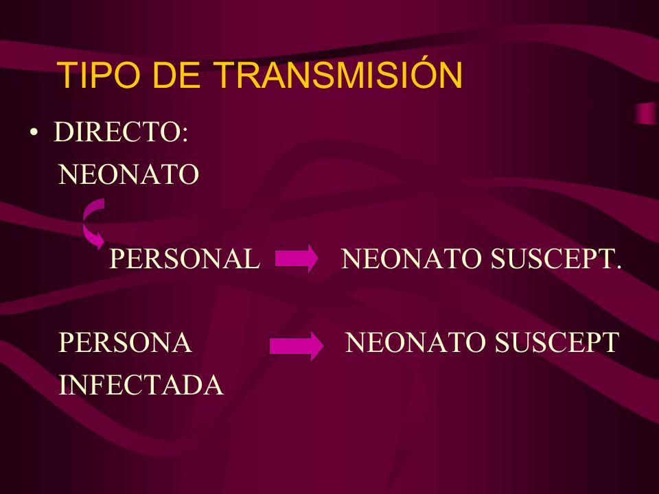 TIPO DE TRANSMISION INDIRECTO: EQUIPO/SOLUCION CONTAMINADA NEONATO SUSCEPTIBLE