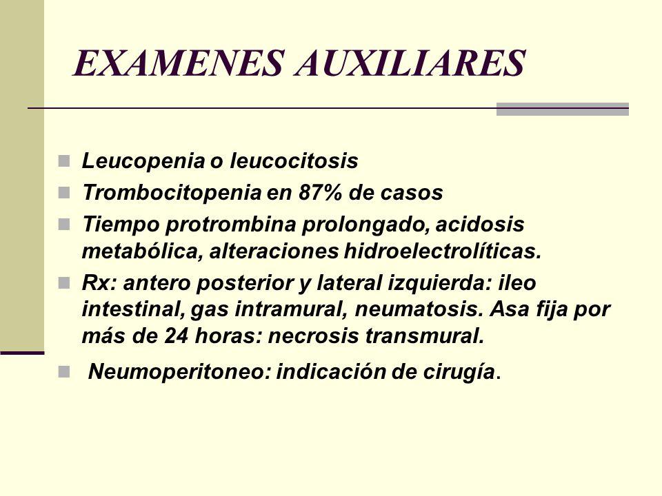 EXAMENES AUXILIARES Leucopenia o leucocitosis Trombocitopenia en 87% de casos Tiempo protrombina prolongado, acidosis metabólica, alteraciones hidroel