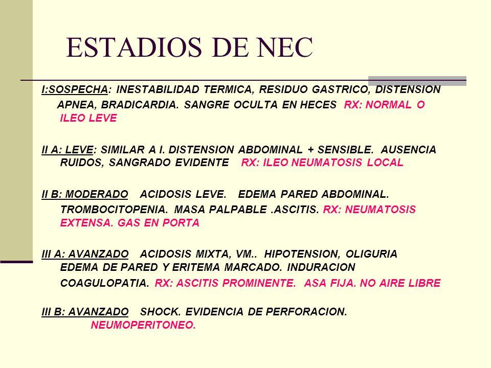 ESTADIOS DE NEC I:SOSPECHA: INESTABILIDAD TERMICA, RESIDUO GASTRICO, DISTENSION APNEA, BRADICARDIA. SANGRE OCULTA EN HECES RX: NORMAL O ILEO LEVE II A