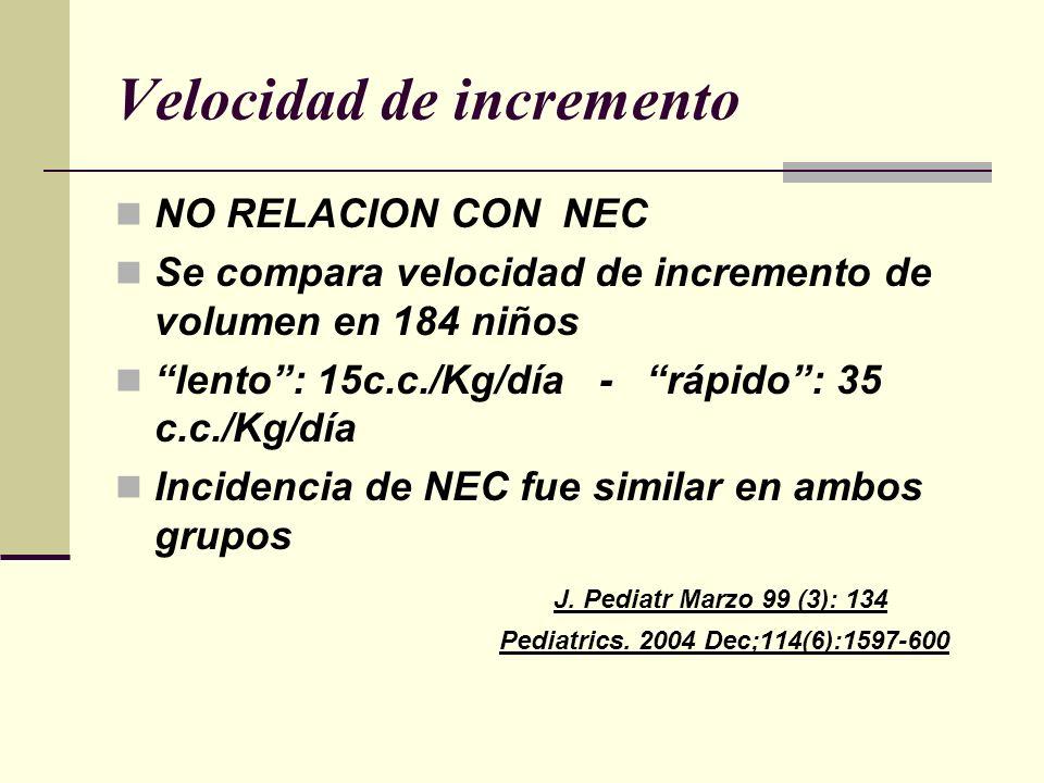 Velocidad de incremento NO RELACION CON NEC Se compara velocidad de incremento de volumen en 184 niños lento: 15c.c./Kg/día - rápido: 35 c.c./Kg/día I