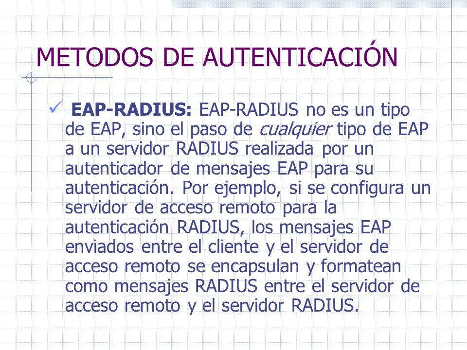METODOS DE AUTENTICACIÓN EAP-RADIUS: EAP-RADIUS no es un tipo de EAP, sino el paso de cualquier tipo de EAP a un servidor RADIUS realizada por un aute