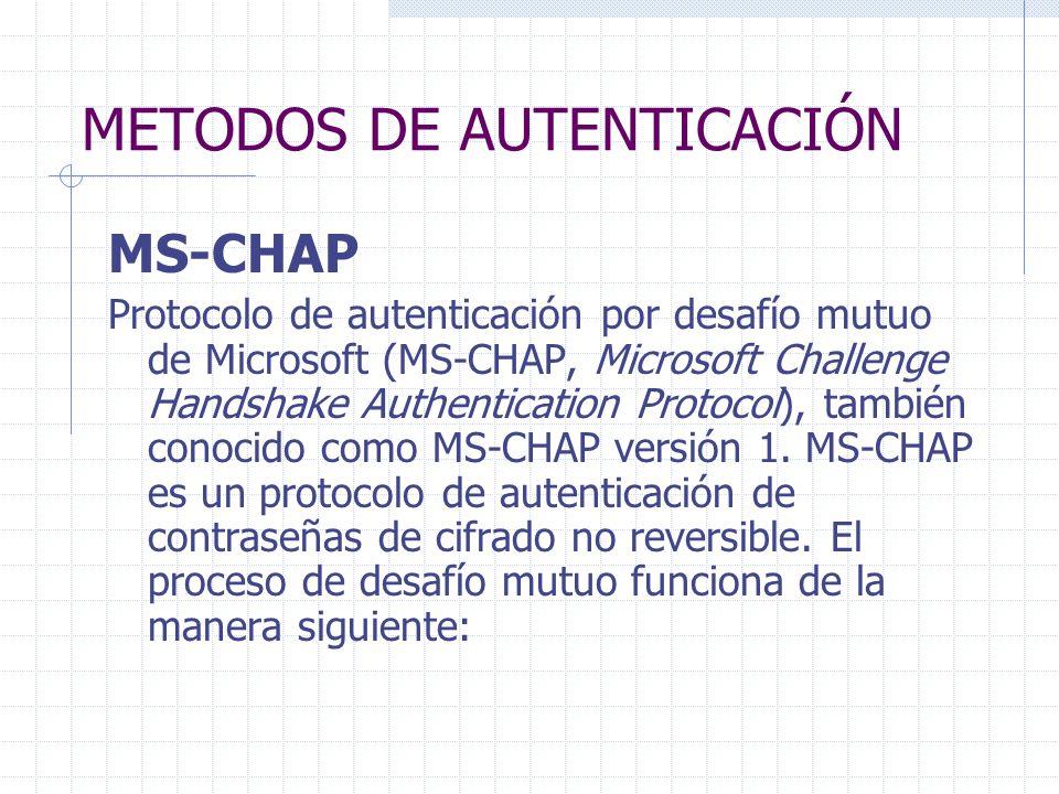METODOS DE AUTENTICACIÓN MS-CHAP Protocolo de autenticación por desafío mutuo de Microsoft (MS-CHAP, Microsoft Challenge Handshake Authentication Prot