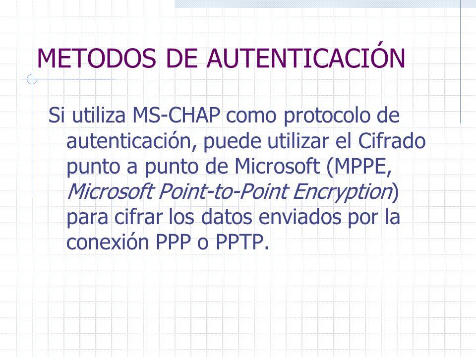 METODOS DE AUTENTICACIÓN Si utiliza MS-CHAP como protocolo de autenticación, puede utilizar el Cifrado punto a punto de Microsoft (MPPE, Microsoft Poi