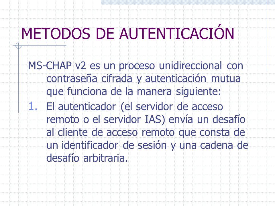 METODOS DE AUTENTICACIÓN MS-CHAP v2 es un proceso unidireccional con contraseña cifrada y autenticación mutua que funciona de la manera siguiente: 1.