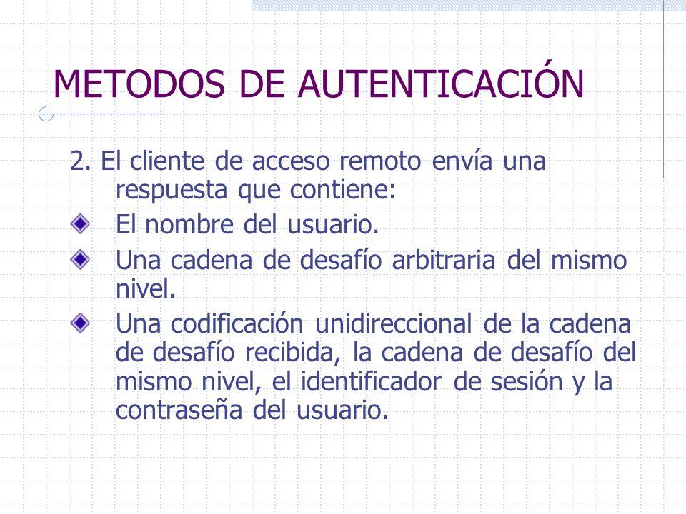 METODOS DE AUTENTICACIÓN 2. El cliente de acceso remoto envía una respuesta que contiene: El nombre del usuario. Una cadena de desafío arbitraria del