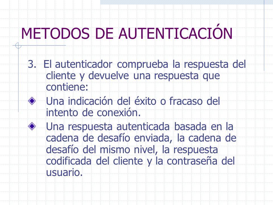METODOS DE AUTENTICACIÓN 3. El autenticador comprueba la respuesta del cliente y devuelve una respuesta que contiene: Una indicación del éxito o fraca