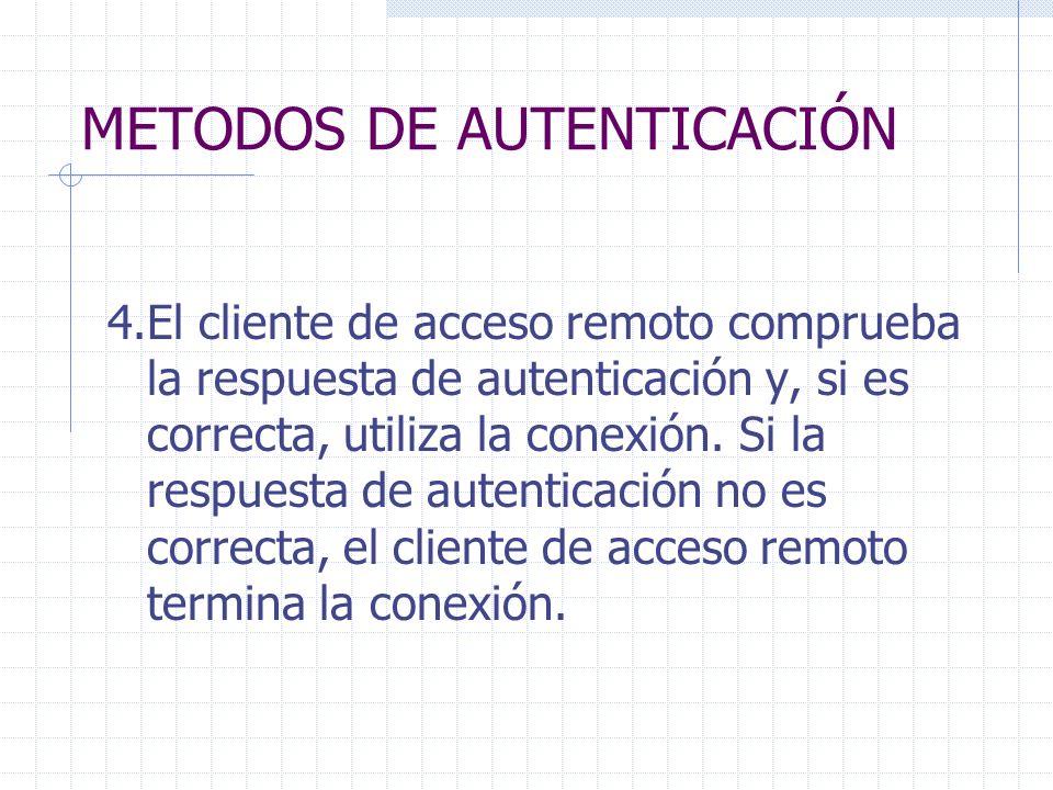 METODOS DE AUTENTICACIÓN 4.El cliente de acceso remoto comprueba la respuesta de autenticación y, si es correcta, utiliza la conexión. Si la respuesta