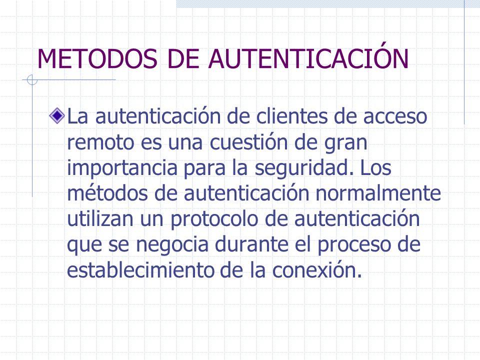 METODOS DE AUTENTICACIÓN La autenticación de clientes de acceso remoto es una cuestión de gran importancia para la seguridad. Los métodos de autentica
