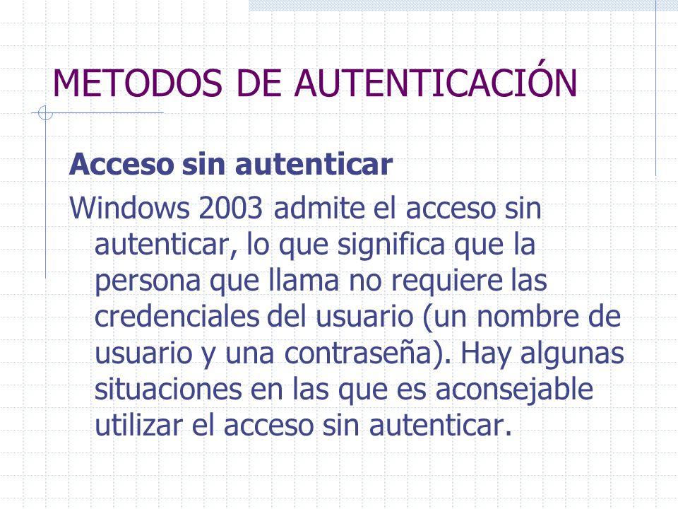 METODOS DE AUTENTICACIÓN Acceso sin autenticar Windows 2003 admite el acceso sin autenticar, lo que significa que la persona que llama no requiere las