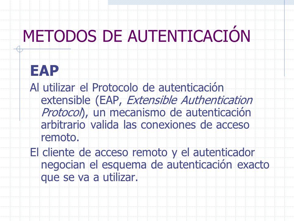 METODOS DE AUTENTICACIÓN EAP Al utilizar el Protocolo de autenticación extensible (EAP, Extensible Authentication Protocol), un mecanismo de autentica