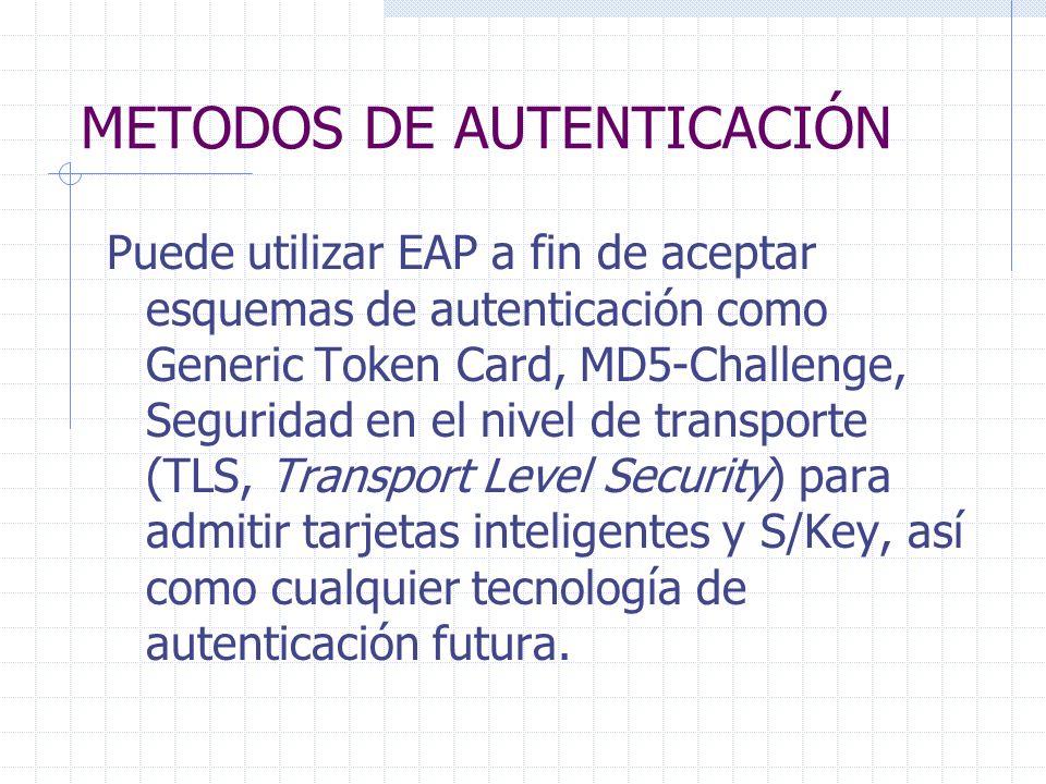 METODOS DE AUTENTICACIÓN Puede utilizar EAP a fin de aceptar esquemas de autenticación como Generic Token Card, MD5-Challenge, Seguridad en el nivel d