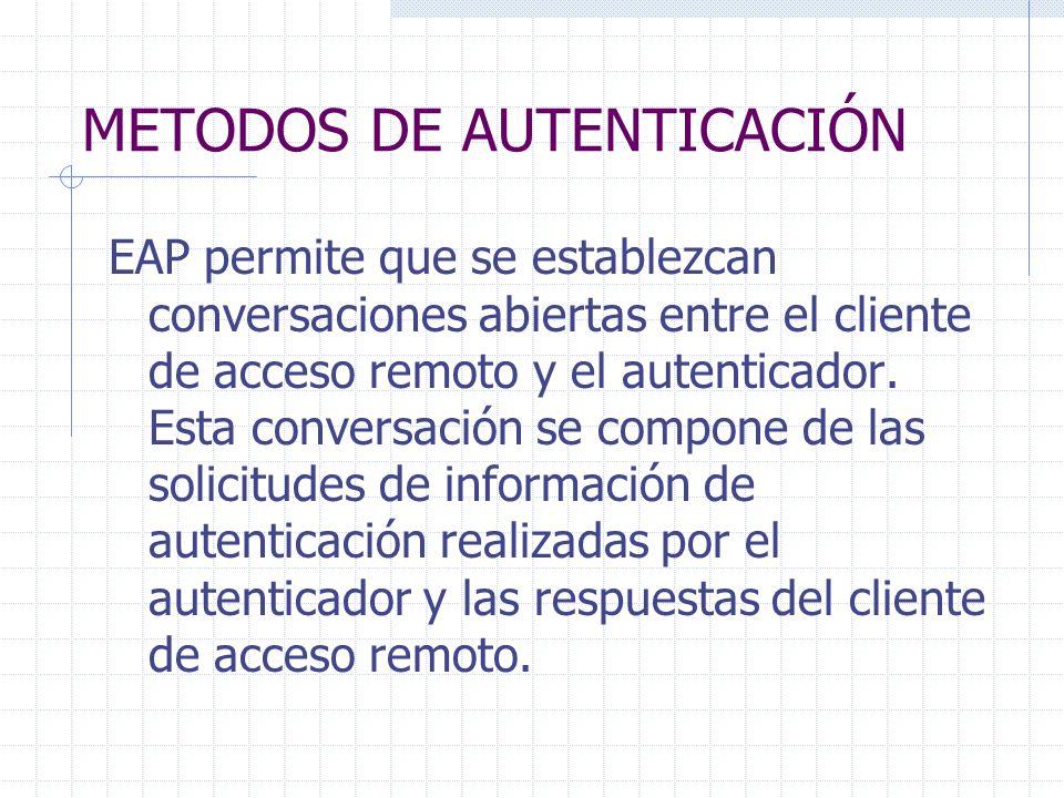 METODOS DE AUTENTICACIÓN EAP permite que se establezcan conversaciones abiertas entre el cliente de acceso remoto y el autenticador. Esta conversación