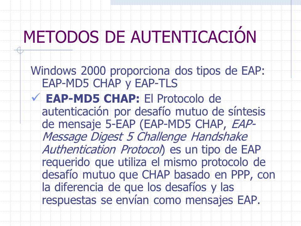 METODOS DE AUTENTICACIÓN Windows 2000 proporciona dos tipos de EAP: EAP-MD5 CHAP y EAP-TLS EAP-MD5 CHAP: El Protocolo de autenticación por desafío mut