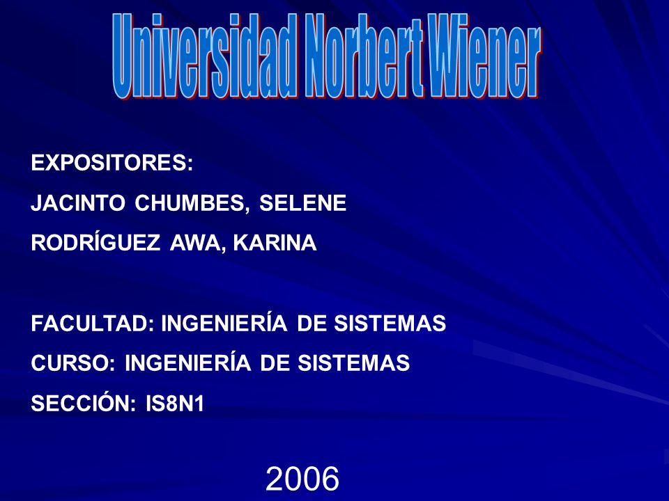 EXPOSITORES: JACINTO CHUMBES, SELENE RODRÍGUEZ AWA, KARINA FACULTAD: INGENIERÍA DE SISTEMAS CURSO: INGENIERÍA DE SISTEMAS SECCIÓN: IS8N1 2006