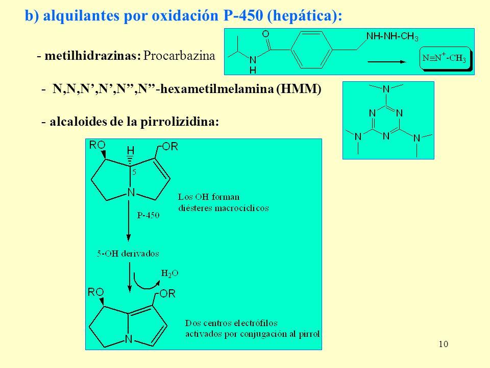 10 b) alquilantes por oxidación P-450 (hepática): - metilhidrazinas: Procarbazina - N,N,N,N,N,N-hexametilmelamina (HMM) - alcaloides de la pirrolizidi