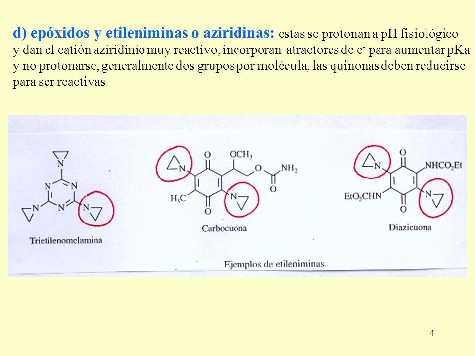 4 d) epóxidos y etileniminas o aziridinas: estas se protonan a pH fisiológico y dan el catión aziridinio muy reactivo, incorporan atractores de e - pa