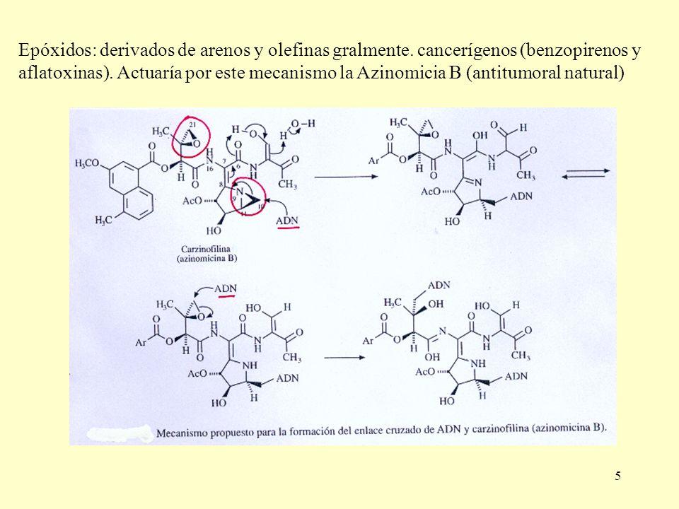 5 Epóxidos: derivados de arenos y olefinas gralmente. cancerígenos (benzopirenos y aflatoxinas). Actuaría por este mecanismo la Azinomicia B (antitumo