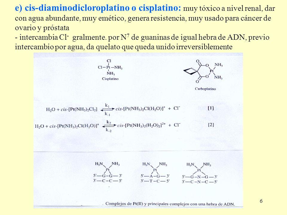 6 e) cis-diaminodicloroplatino o cisplatino: muy tóxico a nivel renal, dar con agua abundante, muy emético, genera resistencia, muy usado para cáncer
