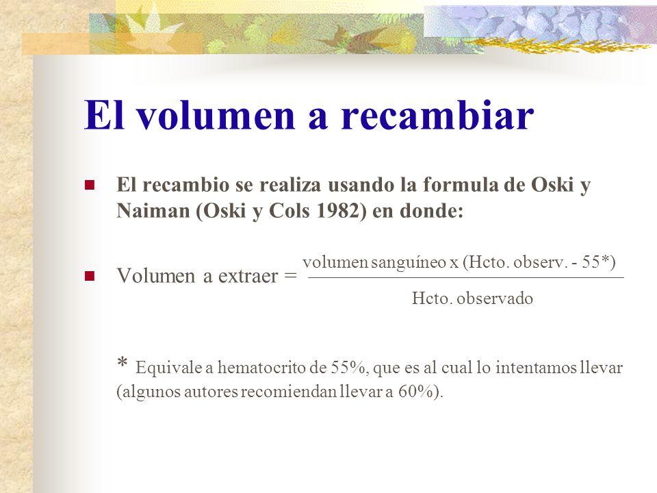 El volumen a recambiar El recambio se realiza usando la formula de Oski y Naiman (Oski y Cols 1982) en donde: volumen sanguíneo x (Hcto. observ. - 55*