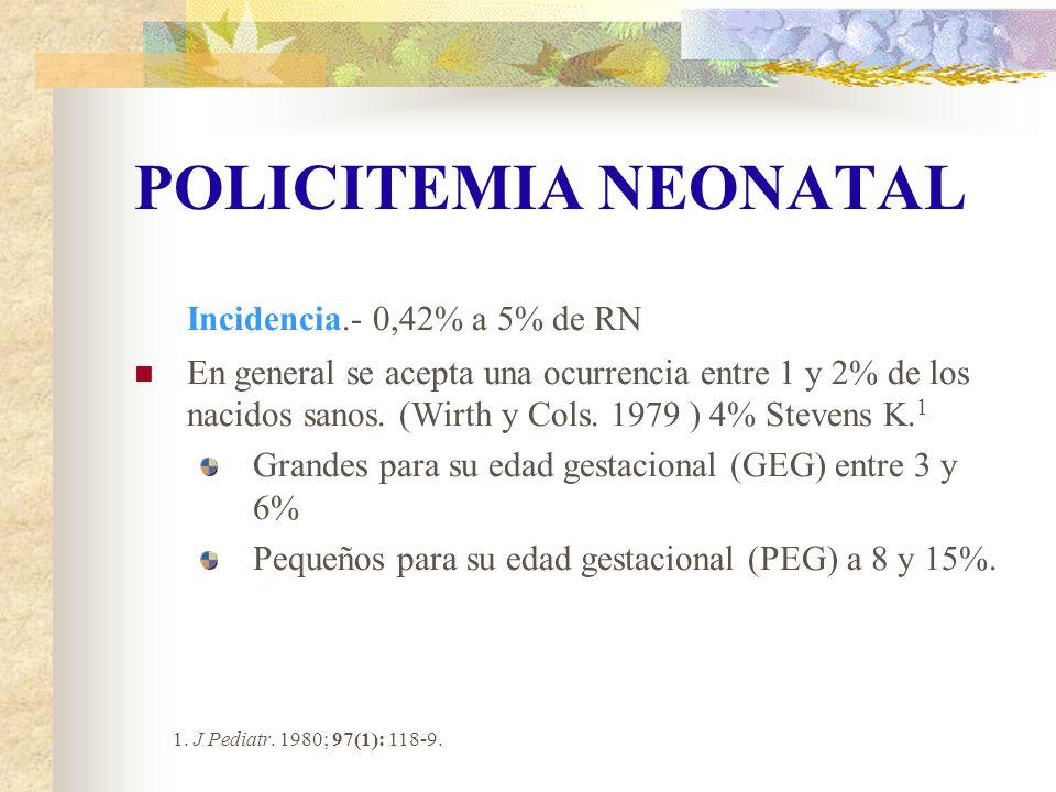 POLICITEMIA NEONATAL Incidencia.- 0,42% a 5% de RN En general se acepta una ocurrencia entre 1 y 2% de los nacidos sanos. (Wirth y Cols. 1979 ) 4% Ste