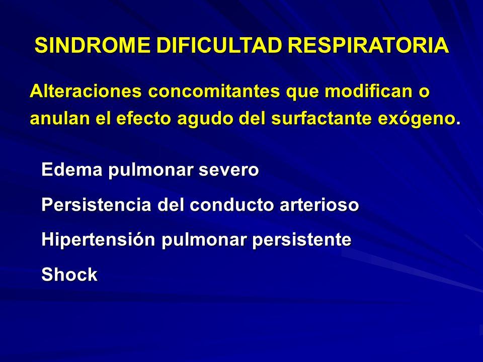 SINDROME DIFICULTAD RESPIRATORIA Factores que afectan el éxito a corto y largo plazo del surfactante exógeno. No uso de corticoides prenatales Peso ex