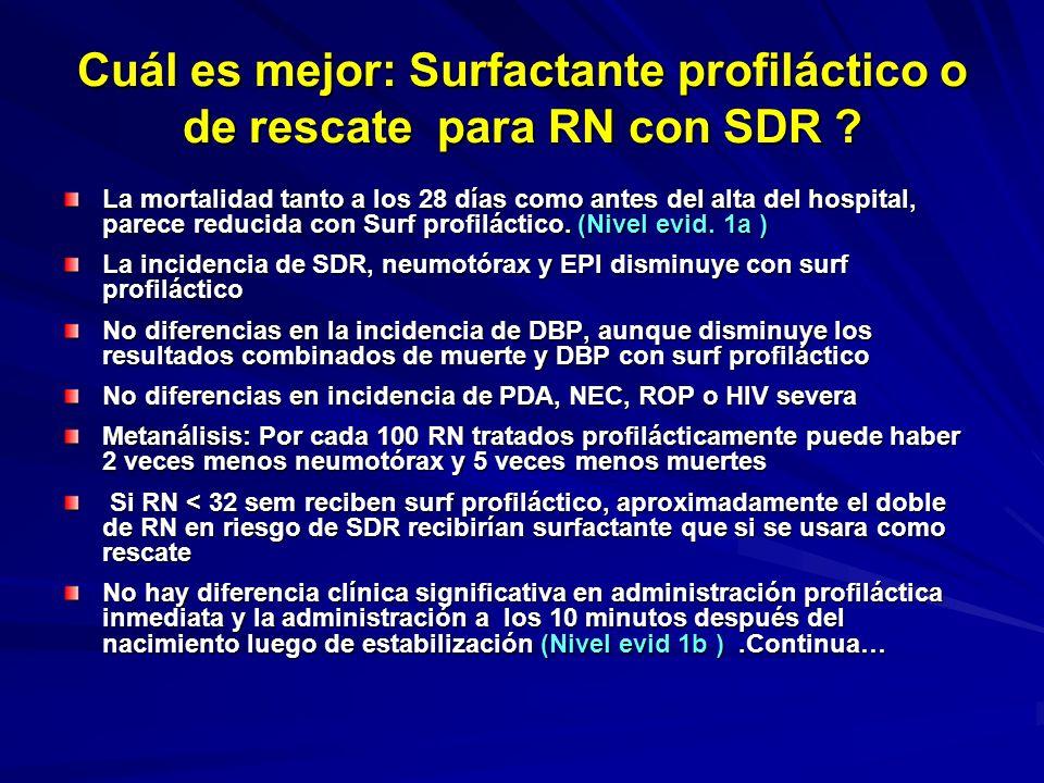 Cuál es el mejor surfactante, natural o sintético ? La mayoría de los estudios muestra que RN tratados con surfactante natural tienen más bajas necesi