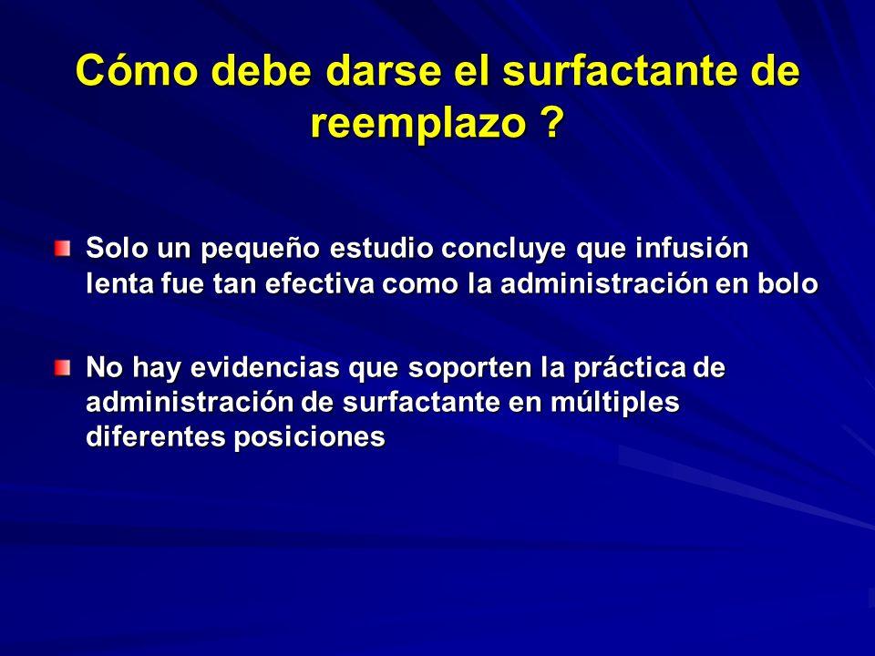 Cuál es mejor: Surfactante profiláctico o de rescate para RN con SDR ? La incidencia combinada de muerte o DBP fue reducida 11% cuando el surfactante
