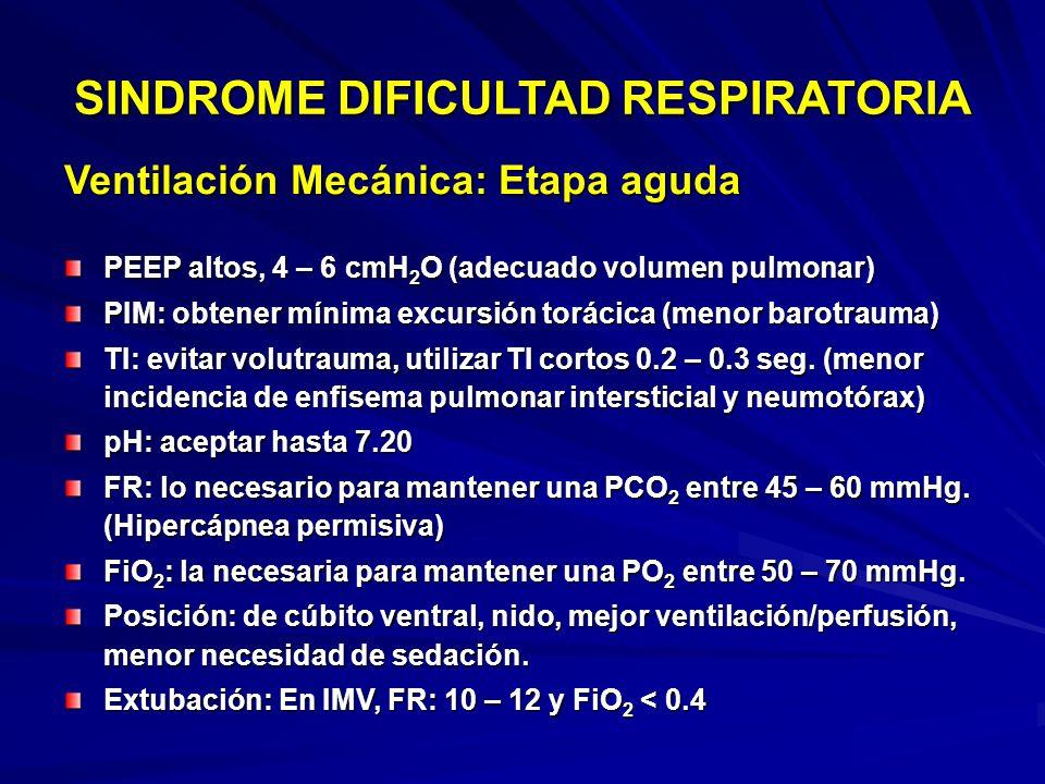 Manejo de SDR: Ventilación Mecánica SINDROME DIFICULTAD RESPIRATORIA Optimización de VM convencional Disminuir la incidencia de complicaciones y secue