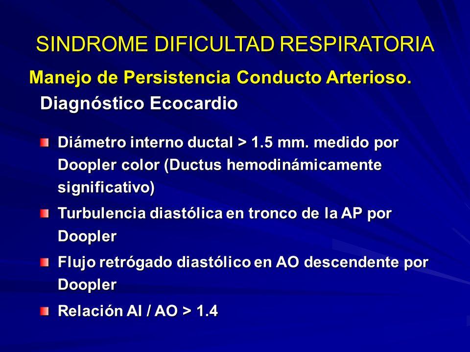 Manejo de Persistencia Conducto Arterioso. SINDROME DIFICULTAD RESPIRATORIA El diagnóstico es eminentemente clínico No imprescindible ecocardio para i