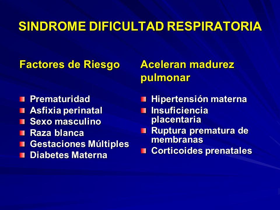 Factores de RiesgoAceleran madurez pulmonar SINDROME DIFICULTAD RESPIRATORIA Prematuridad Asfixia perinatal Sexo masculino Raza blanca Gestaciones Múltiples Diabetes Materna Hipertensión materna Insuficiencia placentaria Ruptura prematura de membranas Corticoides prenatales