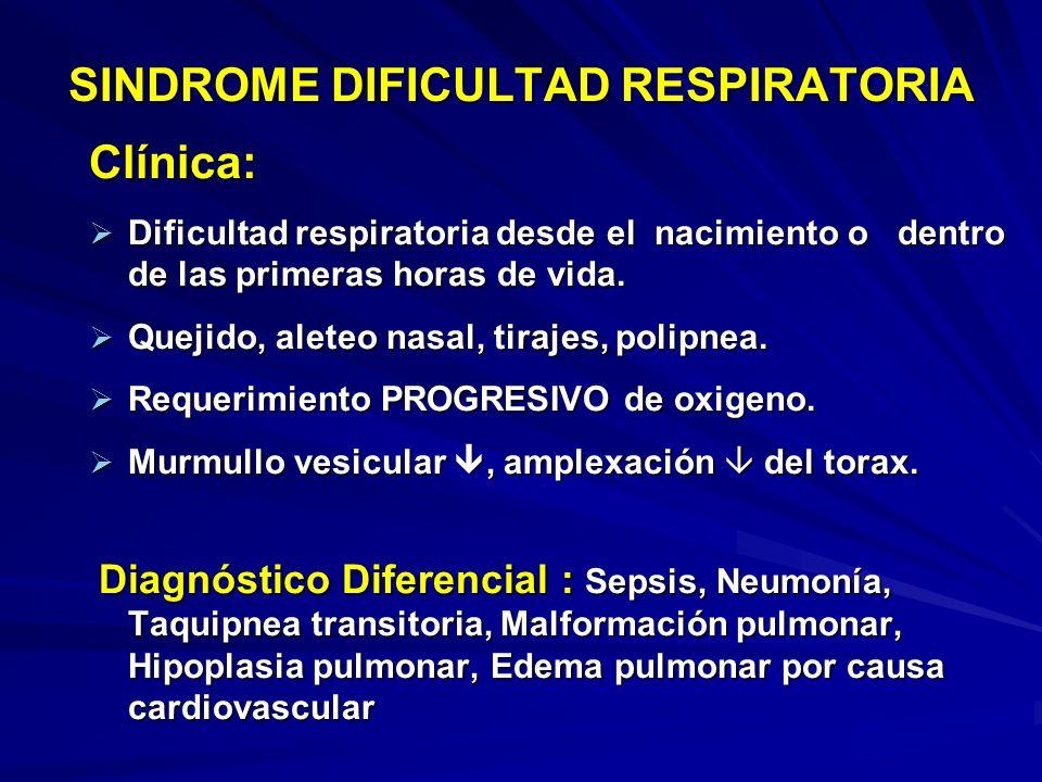 SINDROME DIFICULTAD RESPIRATORIA Clínica: Dificultad respiratoria desde el nacimiento o dentro de las primeras horas de vida.