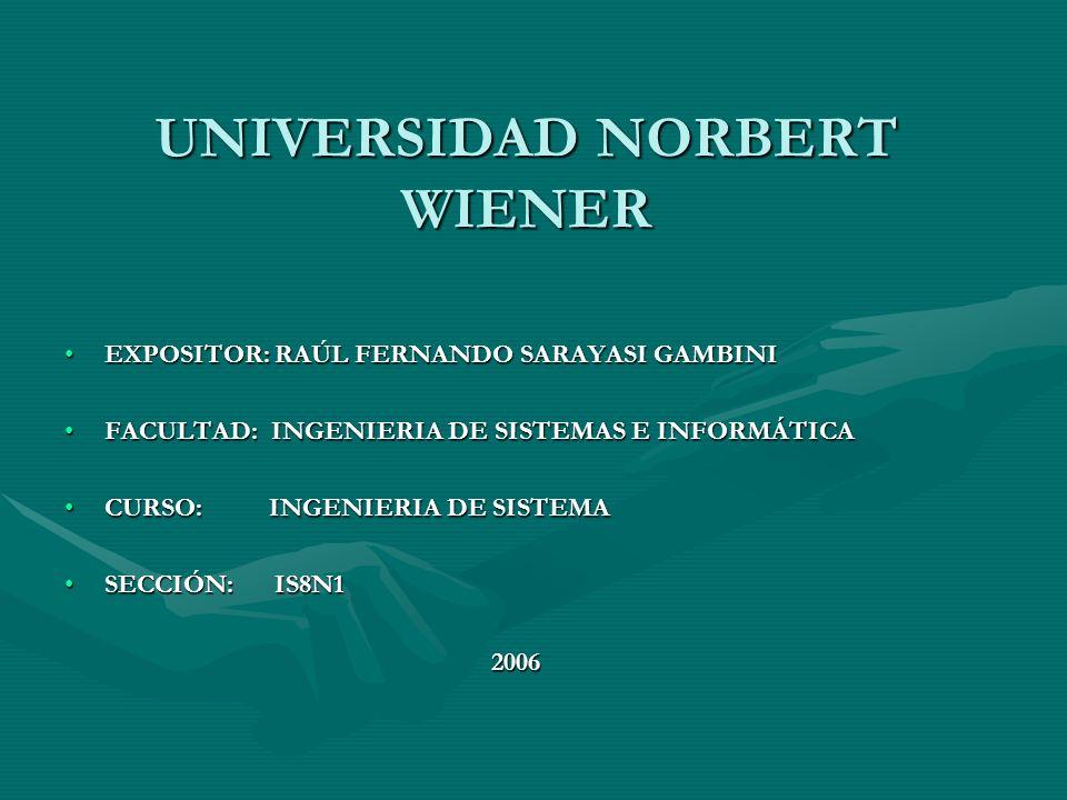 UNIVERSIDAD NORBERT WIENER EXPOSITOR: RAÚL FERNANDO SARAYASI GAMBINIEXPOSITOR: RAÚL FERNANDO SARAYASI GAMBINI FACULTAD: INGENIERIA DE SISTEMAS E INFOR