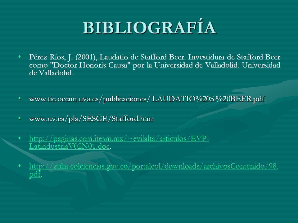 BIBLIOGRAFÍA Pérez Ríos, J. (2001), Laudatio de Stafford Beer. Investidura de Stafford Beer como