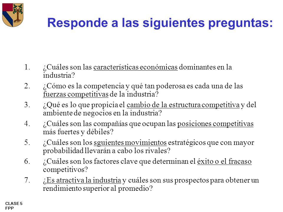 CLASE 5 FPP Responde a las siguientes preguntas: 1.¿Cuáles son las características económicas dominantes en la industria? 2.¿Cómo es la competencia y